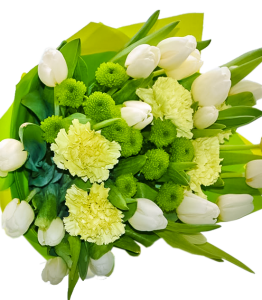 White tulips, Caranfil, chrysantemus