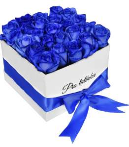 White Box of Blue Roses For dad