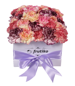 White Box of Multi Color Carnations