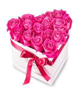 Pink Roses White Heart Box