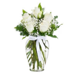 White Roses with gypsophile