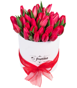 White Oval Box of Red Tulips
