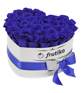 Blue Roses White Heart Box