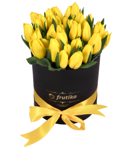 White Box Oval of Yellow Tulips
