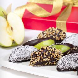 Apples in chocolate mix