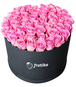 Pink Roses Black Oval Box