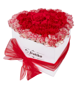 Red and Multi color Carnations White Heart Box