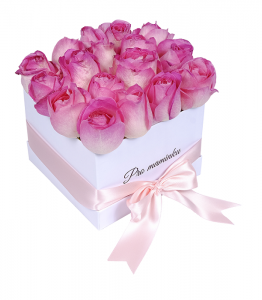 White Box of Pink Roses For mom