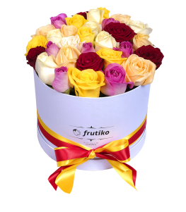White Oval Box Colorful Roses