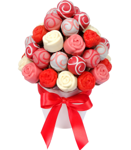 Pink bouquet from popcakes