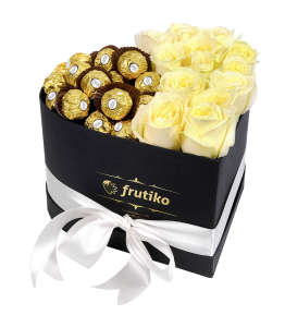 Heart Box White Rose + Ferrero Rocher