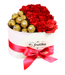 Heart Box Red Rose + Ferrero Rocher