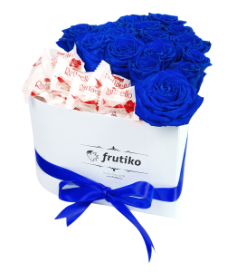 Heart Box Blue Roses Raffaello