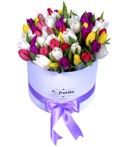 White Oval Box Colorful Tulips