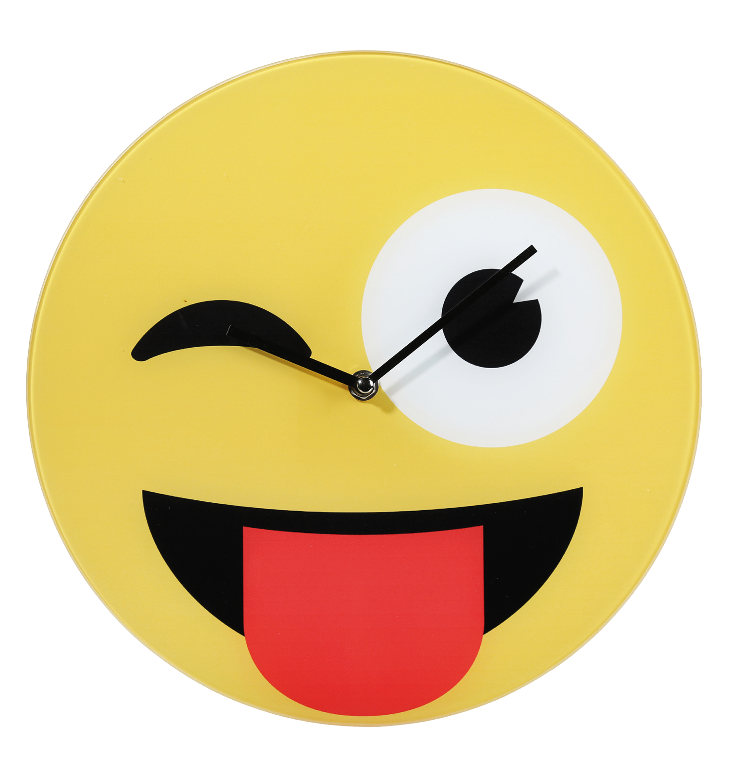Glass wall clock with Emoji smiley picture with tonque