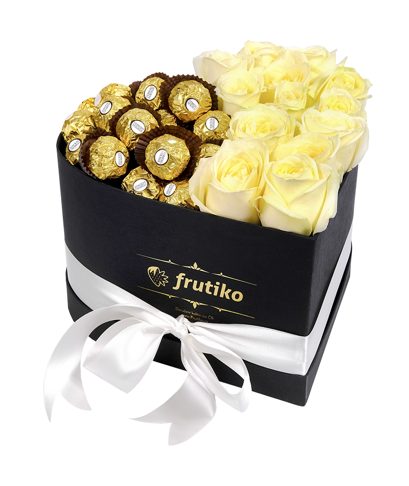 White Roses With Ferrero Rocher In A Black Heart