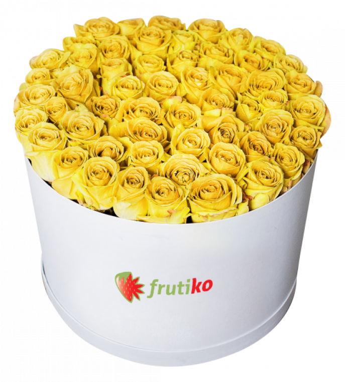 Oval Yellow Roses Box