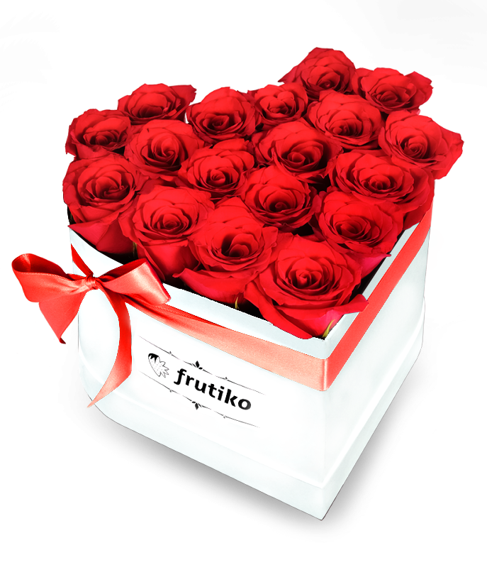 Red Roses White Heart Box