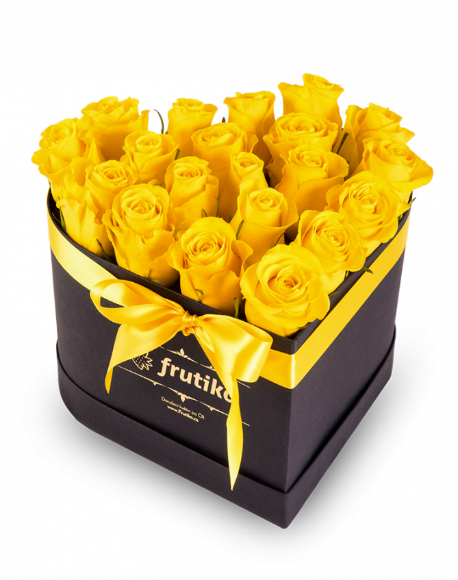 Yellow Roses Black Heart Box