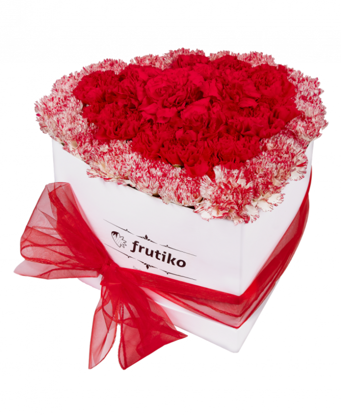 White Heart Box Freshly Cut Red And Multi Color Carnations