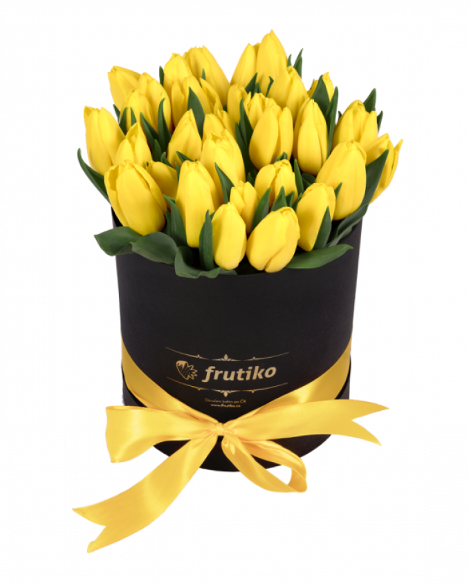 Black Box Oval of Yellow Tulips