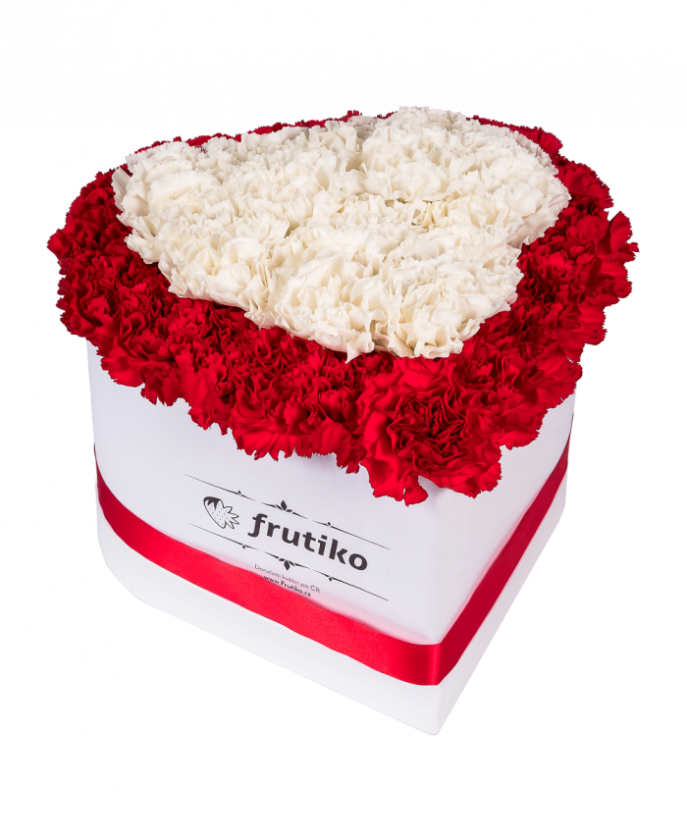 Red and White Carnations White Heart Box
