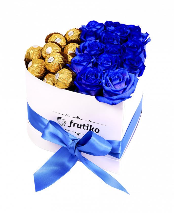 Heart Box Blue Rose + Ferrero Rocher
