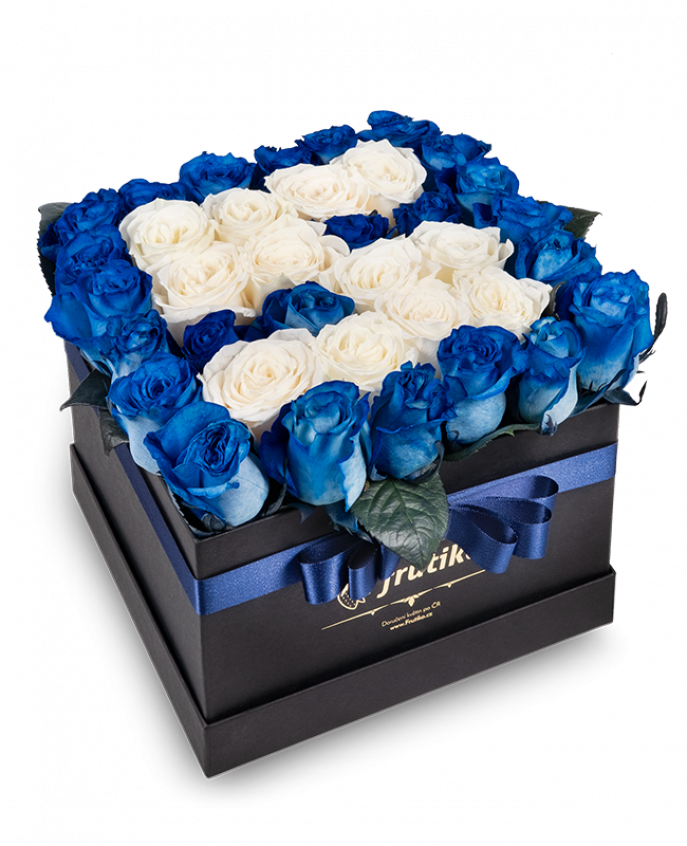 Black Box of Blue Roses with white letter