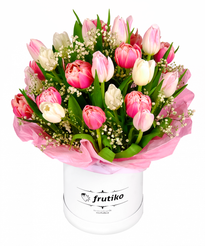 Box of White&Pink Tulips