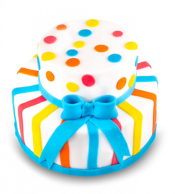 Colorful Cake with Ribbon