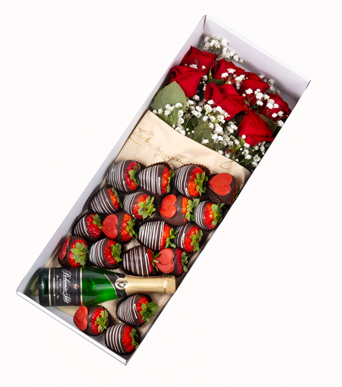 Strawberries Champagne Roses